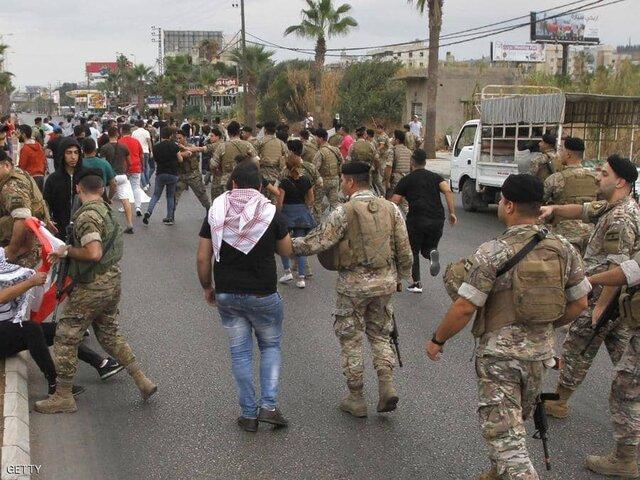 درگیری ارتش لبنان با معترضان خیابانی