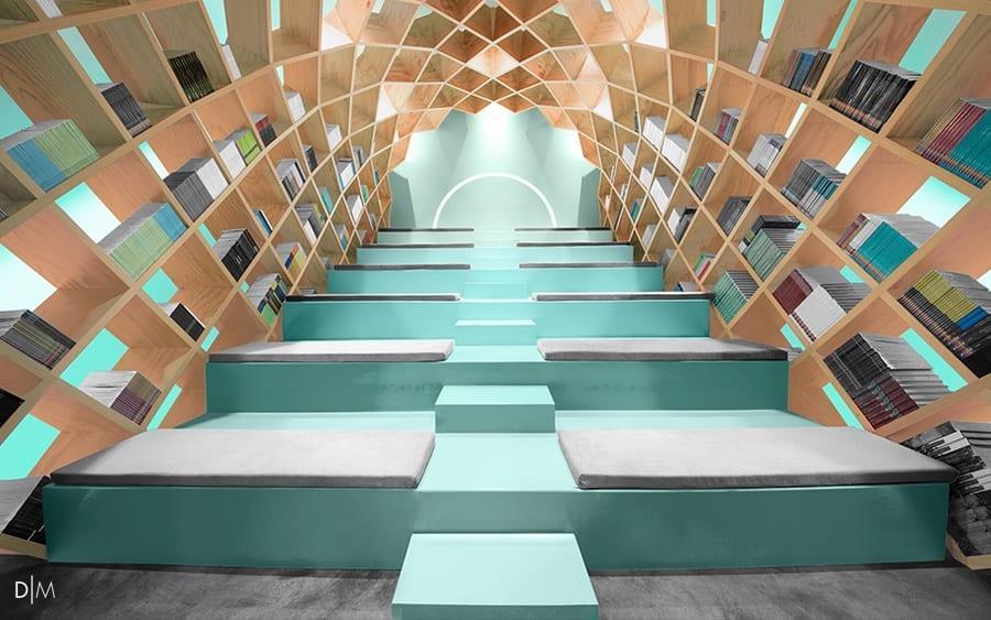 طراحی داخلی و طراحی مبلمان برای کتابخانه Conarte