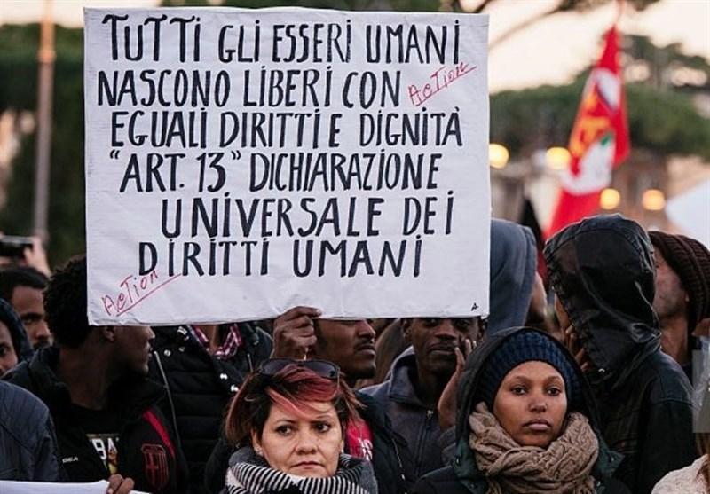 اعتراض پناهجویان به شرایط بد زندگی در پایتخت ایتالیا