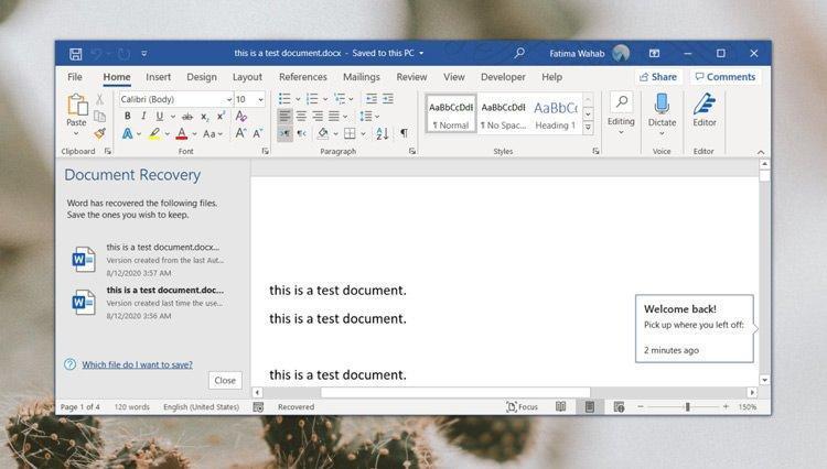 آموزش بازیابی اسناد و فایل های ورد ذخیره نشده در ویندوز 10